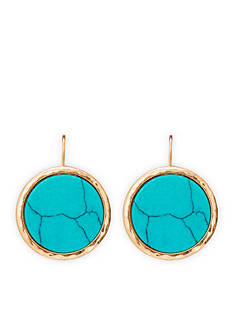 Lauren Ralph Lauren Gold-Tone Chic Faux Turquoise Disc Drop Earrings