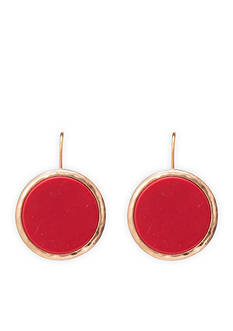 Lauren Ralph Lauren Gold-Tone Chic Burnt Orange Disc Drop Earrings
