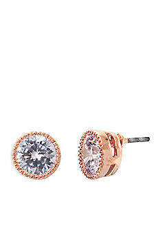 Lauren Ralph Lauren Rose Gold-Tone Social Small Crystal Stud Earrings
