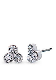 Lauren Ralph Lauren Silver-Tone Social Set Triple Stone Stud Pierced Earrings