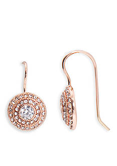 Lauren Ralph Lauren Rose Gold-Tone Social Round Vintage Crystal Drop Earrings