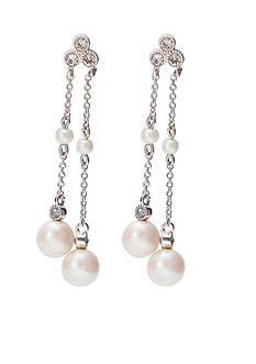 Lauren Ralph Lauren Silver-Tone Bridal Pearl Linear Earrings
