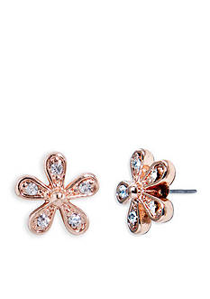 Lauren Ralph Lauren Rose Gold-Tone Social Small Crystal Flower Stud Earrings