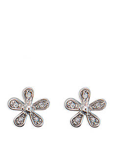 Lauren Ralph Lauren Silver-Tone Bridal Flower Stud Earrings