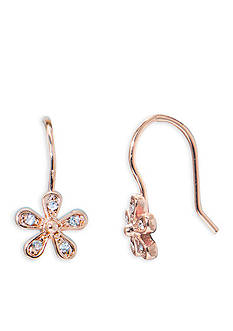 Lauren Ralph Lauren Rose Gold Social Small Crystal Flower Drop Earrings