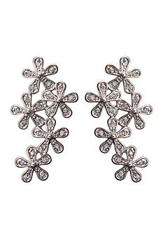 Lauren Ralph Lauren Silver-Tone Bridal Floral Button Earrings