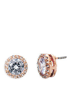 Lauren Ralph Lauren Rose Gold-Tone Social Halo Crystal Stud Earrings