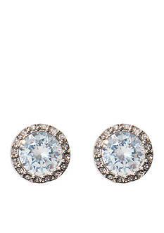 Lauren Ralph Lauren Silver-Tone Bridal Halo Crystal Stud Earrings