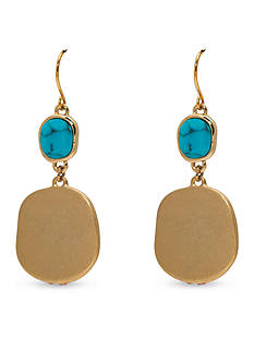 Lauren Ralph Lauren Gold-Tone Pink Sands Turquoise Double Drop Earrings