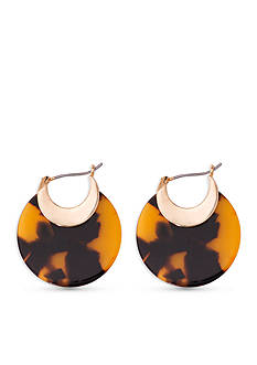 Lauren Ralph Lauren Gold-Tone & Tortoise Riding High Graduated Hoop Earrings