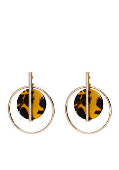 Lauren Ralph Lauren Gold-Tone Riding High Orbital Hoop Drop Earrings
