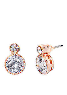 Lauren Ralph Lauren Rose Gold-Tone Social Double Crystal Drop Stud Earrings