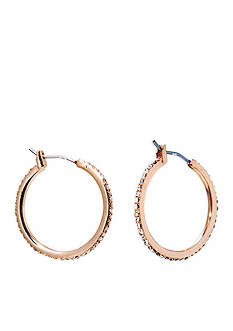 Lauren Ralph Lauren Rose Gold-Tone Social Medium Pave Hoop Earrings