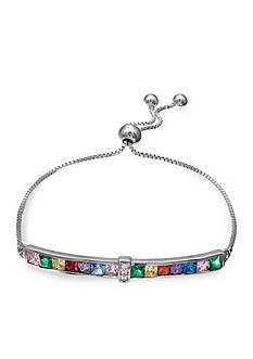 Belk Silverworks Fine Silver Plate Multi-Bright Cubic Zirconia Bezel Bar Adjustable Bracelet