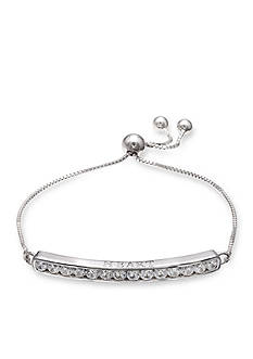 Belk Silverworks Fine Silver Plate Follow Your Heart Cubic Zirconia Channel Bar Adjustable Bracelet