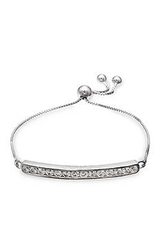 Belk Silverworks Fine Silver Plate Faith Hope Love Cubic Zirconia Adjustable Bracelet