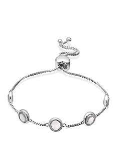 Belk Silverworks Fine Silver Plated Swarovski Crystal Adjustable Bracelet