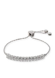 Belk Silverworks Fine Silver Plated Princess Cut Cubic Zirconia Adjustable Bracelet
