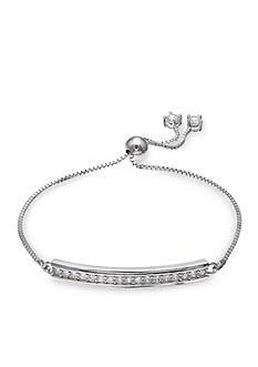 Belk Silverworks Fine Silver Plate Cubic Zirconia Bar Adjustable Bracelet