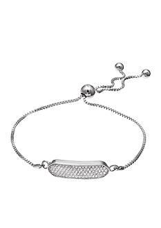 Belk Silverworks Fine Silver Plate Pave Cubic Zirconia Bar Adjustable Bracelet