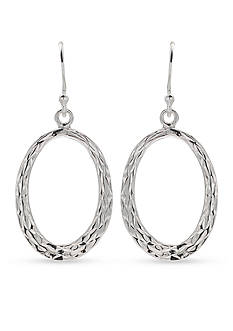 Belk Silverworks Diamond Cut Flat Oval Drop Earring