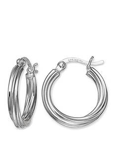 Belk Silverworks Twisted Round Hoop Earrings