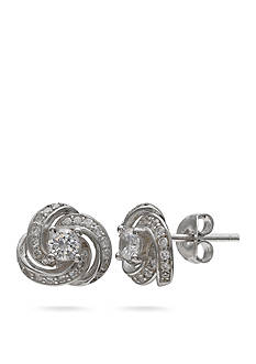 Belk Silverworks Sterling Silver Cubic Zirconia Love Knot Stud Earrings
