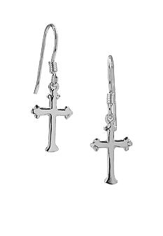 Belk Silverworks Polished Cross Drop Earrings