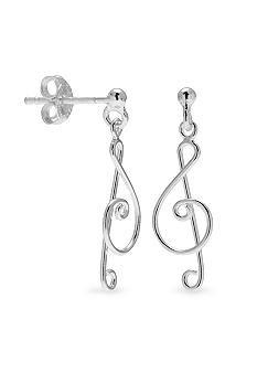 Belk Silverworks Treble Clef Drop Earrings
