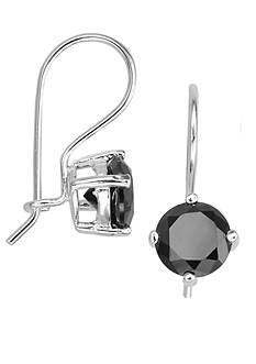 Belk Silverworks Black Cubic Zirconia Euro Wire Earrings