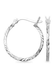 Belk Silverworks Diamond Cut Classic Round Hoop Earrings