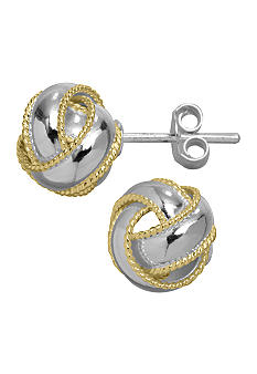 Belk Silverworks Two Tone Love Knot Stud Earrings