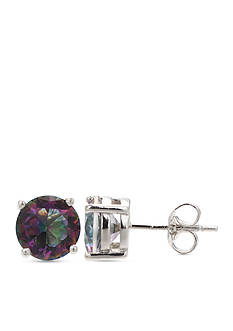 Belk Silverworks Sterling Silver Round Mystic Topaz Stud Earrings