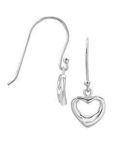 Belk Silverworks Sterling Silver Open Heart Drop Earrings
