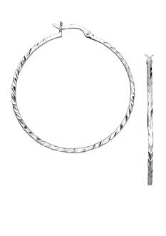 Belk Silverworks Diamond Cut Hoop Earrings