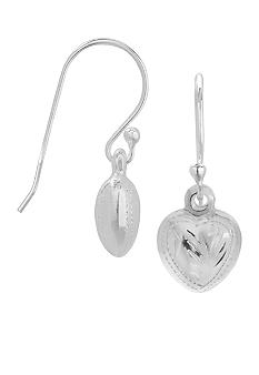 Belk Silverworks Sterling Silver Puffed Heart Drop Earrings