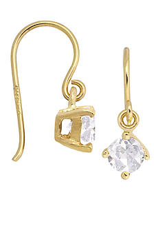 Belk Silverworks 24KT Gold Over Sterling Silver 5mm Cubic Zirconia Drop Earrings