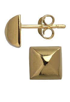 Belk Silverworks 24KT Gold Over Sterling Silver 10MM Pyramid Stud Earring