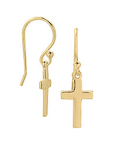 Belk Silverworks 24KT Gold Over Sterling Silver Cross Drop Earrings