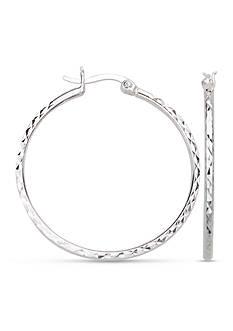 Belk Silverworks Fine Silver Plated Round Diamond Cut Hoop Earrings