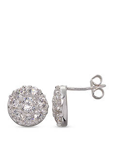 Belk Silverworks Fine Silver Plated CZ Cluster Stud Earrings
