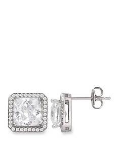 Belk Silverworks Fine Silver-Plated Princess Cut CZ Halo Stud Boxed Earrings