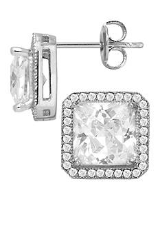 Belk Silverworks Everloved Fine Silver-Plated Micro-Pave' Princess Cubic Zirconia Stud Earrings