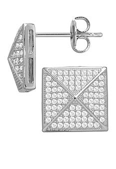 Belk Silverworks Everloved Fine Silver Plate Micro-Pave' Pyramid Stud Earrings