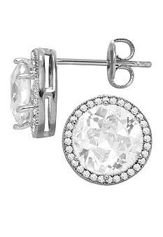 Belk Silverworks Everloved Fine Silver Plate Micro-Pave' Round Cubic Zirconia Stud Earrings