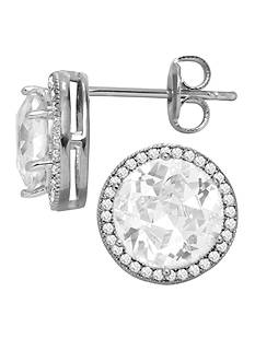 Belk Silverworks Everloved Fine Silver-Plated Micro-Pave' Round Cubic Zirconia Stud Earrings