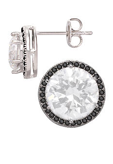 Belk Silverworks Everloved Fine Silver Plate Micro-Pave Princess Cut CZ Earrings