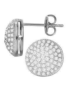 Belk Silverworks Everloved Fine Silver Plated Micro-Pave' Dome Stud Earrings