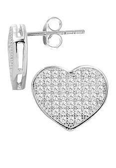 Everloved Fine Silver Plate Micro-Pave' Heart Cubic Zirconia Stud Earrings