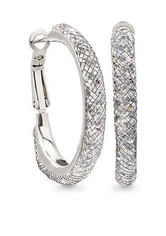 Belk Silverworks Fine Silver Plated Crystal Mesh Hoop Earrings